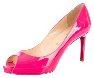Christian Louboutin Patent Patent Leather Peep Toe Stiletto Platform Hidden Platform 39 9 New Red Sole Logo Pink Pumps