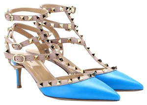 Valentino Spike Studded Stud Pump Parrot Blue Pumps