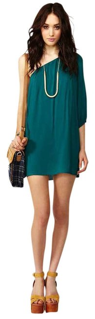 Item - Teal Cute Cocktail Rayon Short True To Above Knee Night Out Dress Size 12 (L)