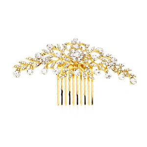 Mariell Popular Crystal Wedding Or Prom Comb With Shimmering Gold Leaves 4190hc-g