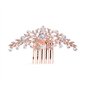 Mariell Popular Rose Gold Crystal Wedding Or Prom Comb With Shimmering Leaves 4190hc-rg