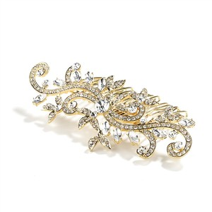 Mariell Gold Popular Or Prom Hair Comb with Pave Crystal Vines 4027hc-g Tiara
