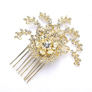 Mariell Top Selling Prom Or Wedding Crystal Spray Hair Comb In Gold 4028hc-g