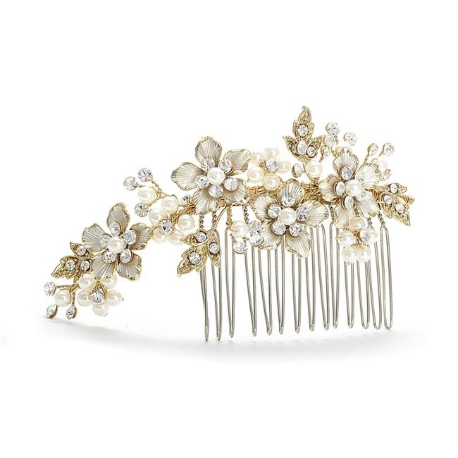 Item - Ivory/Gold Brushed and Pearl Comb H001-i-g Tiara