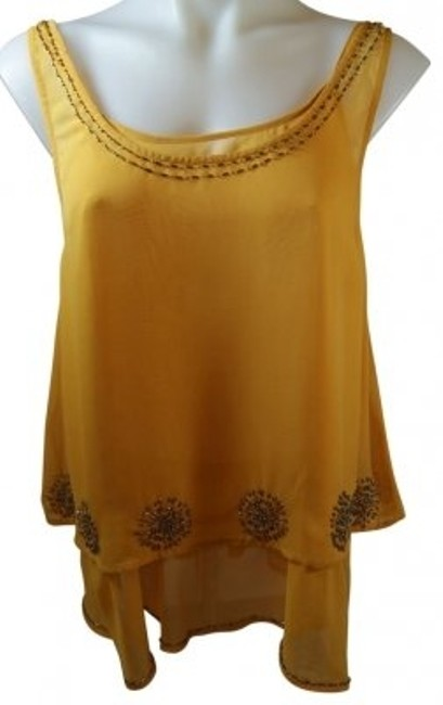 Preload https://item1.tradesy.com/images/jennifer-lopez-yellow-beaded-flowing-tank-topcami-size-8-m-36985-0-0.jpg?width=400&height=650