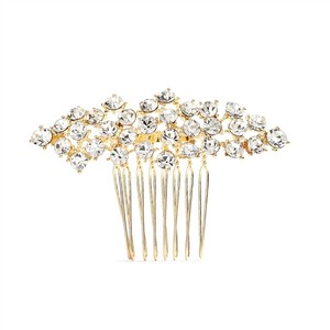 Mariell Best Selling Crystal Clusters Gold Wedding Or Prom Comb 4191hc-g-cr