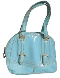 Maxx New York Patent Leather Logo Satchel in Aqua