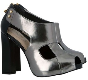 Kat Maconie Metallic Peep Toe Cut-out Pewter Platforms