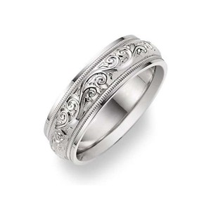 Apples of Gold Silver Paisley Design White Ring Men's Wedding Band