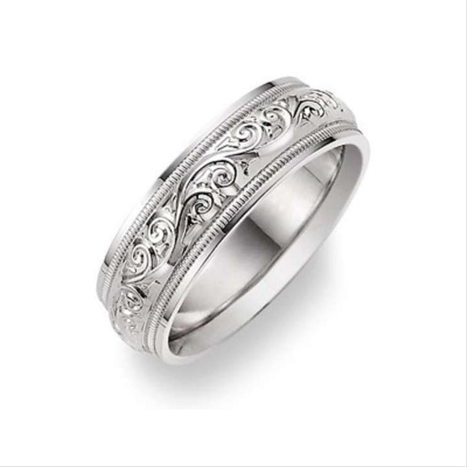 Apples Of Gold Silver Paisley Design White Ring Mens Wedding Bands