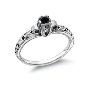 Apples of Gold Black 1 Carat Art Deco Diamond Engagement Ring