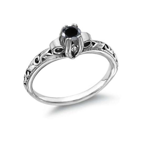 Apples of Gold Black 1 Carat Art Deco Diamond Engagement Rings