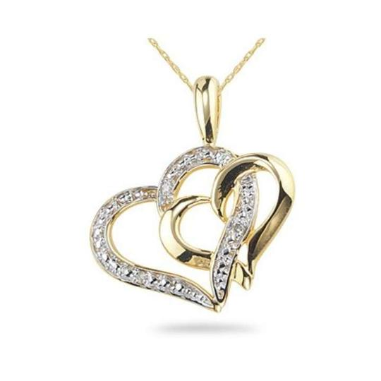Apples of Gold Double Heart Pendant, 14K Yellow Gold