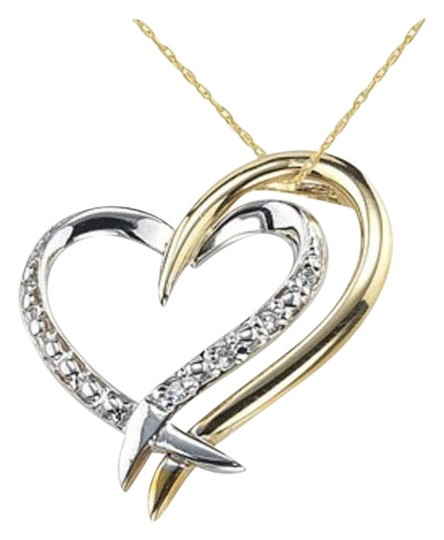 Apples of Gold Two Heart Diamond Necklace, 14K Two-Tone Gold