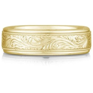 Apples of Gold Engraved Paisley 14k Yellow Men's Wedding Band