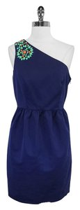 Shoshanna short dress Navy Cotton Embellished on Tradesy