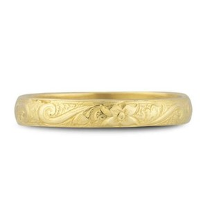 Apples Of Gold Handmade Paisley Floral Wedding Band 14k Yellow Gold