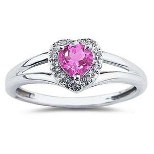 Apples of Gold Heart Shaped Pink Topaz and Diamond Ring, 10K White Gold