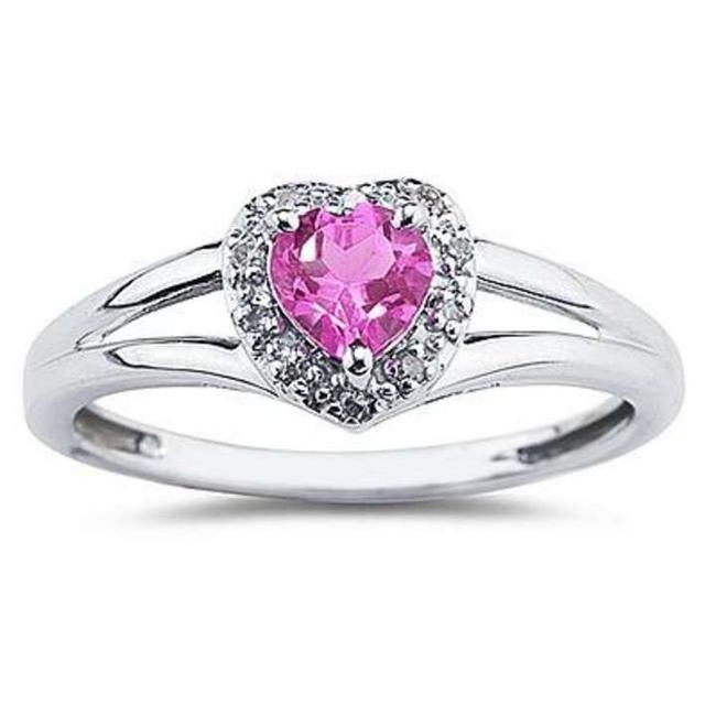Apples of Gold Pink Heart Shaped Topaz and Diamond 10k White Ring Apples of Gold Pink Heart Shaped Topaz and Diamond 10k White Ring Image 1