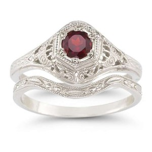 Apples of Gold Red Antique-style Sapphire Set Engagement Ring