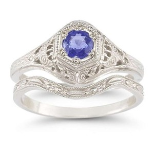Apples of Gold Blue Antique-style Tanzanite Set Engagement Ring