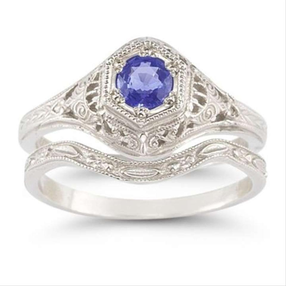 apples of gold antique style tanzanite wedding ring set - Tanzanite Wedding Rings