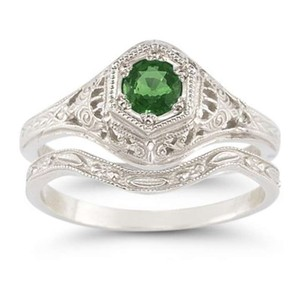Apples Of Gold Antique-style Emerald Wedding Ring Set