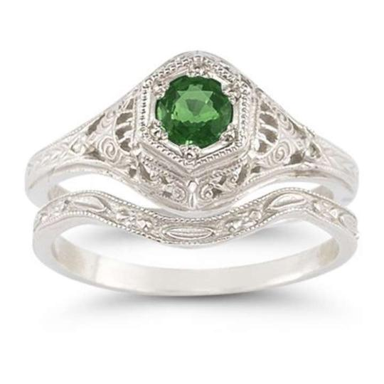 Apples of Gold Green Antique-style Emerald Set Engagement Ring