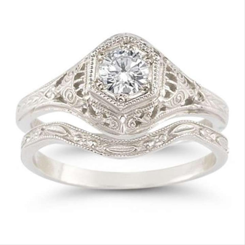 Apples Of Gold White Antique Style 1 3 Carat Diamond Set Engagement Ring