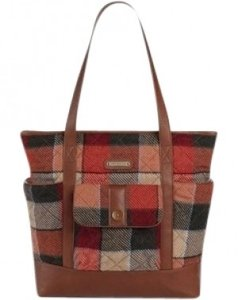 Vera Bradley Tote in cognac-colored leather trim, buffalo check-inspire