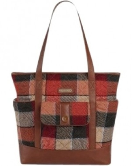 Preload https://item3.tradesy.com/images/vera-bradley-large-cognac-colored-leather-trim-buffalo-check-inspire-wool-plaid-and-tote-37007-0-0.jpg?width=440&height=440