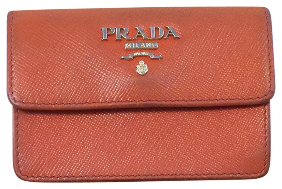Prada orange saffiano metallic gold business card holder wallet prada prada saffiano metallic gold business card holder colourmoves