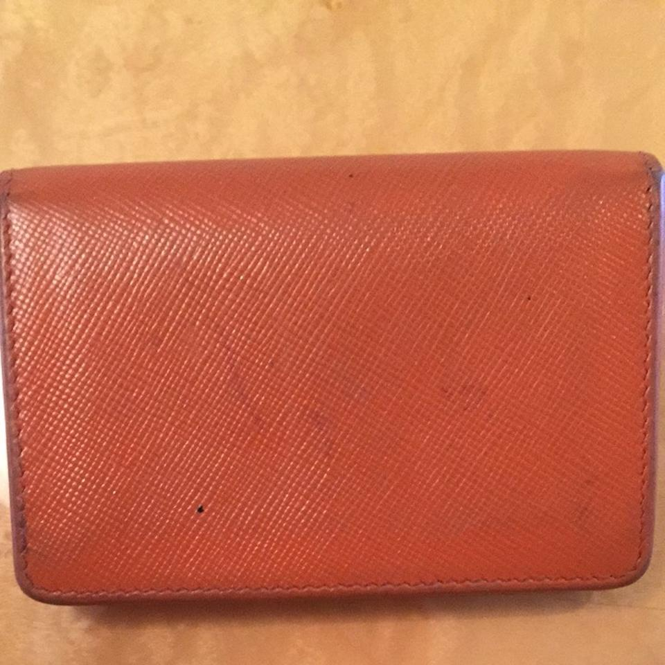 Prada Orange Saffiano Metallic Gold Business Card Holder Wallet ...