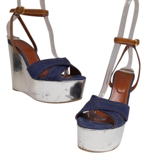 Sergio Rossi Silver and Denim Platforms