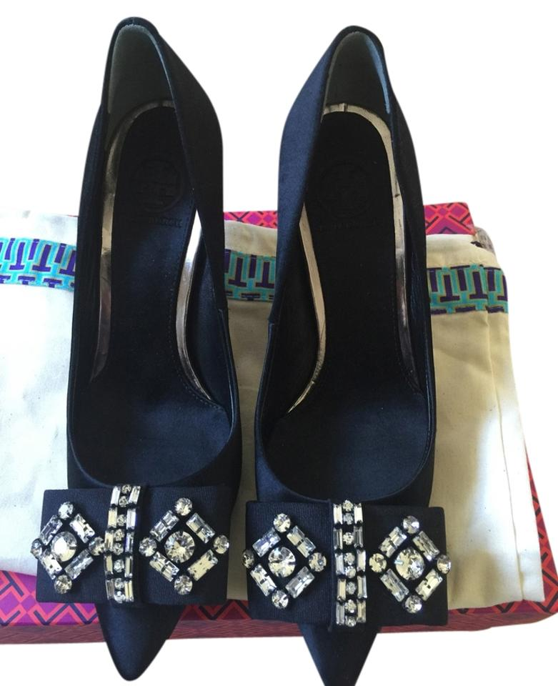 Tory Burch with Black 8.5m Nwot Aria with Burch Crystal Bow Pumps 909ea2