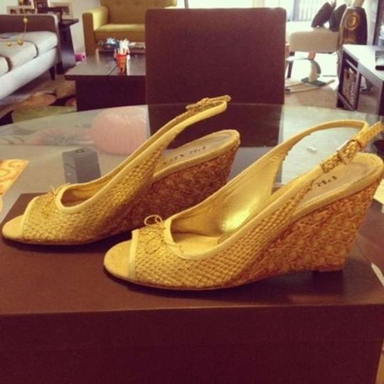 Prada Sandals Snakeskin Snakeskin Natural Wedges