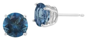 Apples of Gold London Blue Topaz Stud Earrings, 14K White Gold