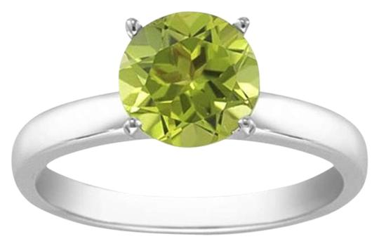 Apples of Gold Peridot Gemstone Solitaire Ring in 14K White Gold