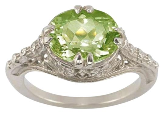 Apples of Gold Vintage Rose Peridot Ring in .925 Sterling Silver
