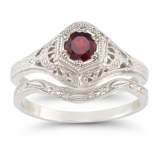 Apples of Gold Red Enchanted Garnet Set In .925 Sterling Silver Engagement Ring
