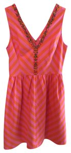 Lilly Pulitzer Chevron Beaded V Neck Full Skirt Pockets Striped Sleevless Lined Dress