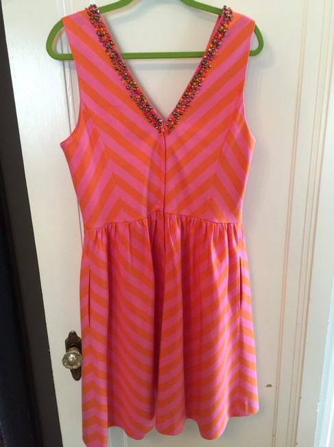 Lilly Pulitzer Chevron Beaded Full Skirt Pockets Lined Dress