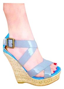 Forever 21 Platforms Multi Light Grey & Royal Blue Wedges