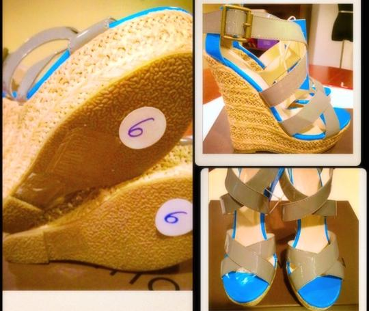 Forever 21 21 Platforms Espadrilles Sandals Sandals Platform Sandals Multi Light Grey & Royal Blue Wedges