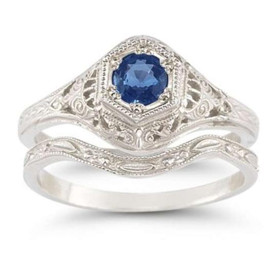 Apples of Gold Blue Enchanted Sapphire Set In .925 Sterling Silver Engagement Ring