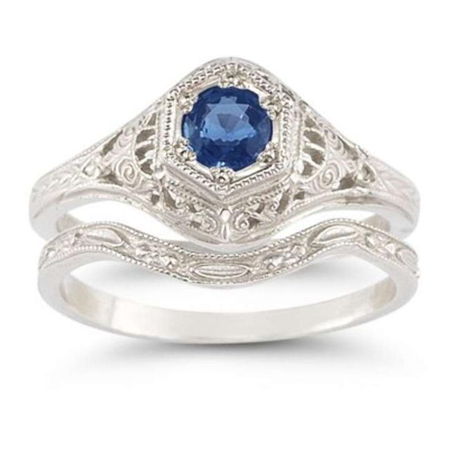 Item - Blue Enchanted Sapphire Set In .925 Sterling Silver Engagement Ring