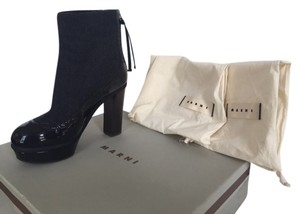 Marni Tweed Patent Leather Zip-back black/grey Boots