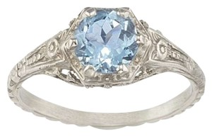 Apples of Gold Vintage Floral Aquamarine Ring in .925 Sterling Silver