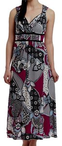 Wine, Black, White Multi Maxi Dress by Other Maxi