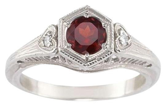 Apples of Gold Garnet and White Topaz Heart Ring, .925 Sterling Silver
